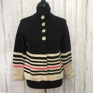 Sanctuary black & tan striped sweater w/ buttons S